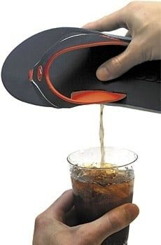 These beachy sandals contain a 'polyurethane canteen in heel with screw cap' which is a clinical way of saying 'GET WASTED WITH THIS HIDDEN FLASK IN YOUR SHOE ALL SUMMER LONG!!!'