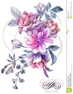 Watercolor Illustration Flower In Simple Background Stock Illustration - Image: 43419354
