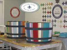 Whiskey barrels painted with all 31 colors of Chalk Paint®. http://www.somelikeitoldornew.com