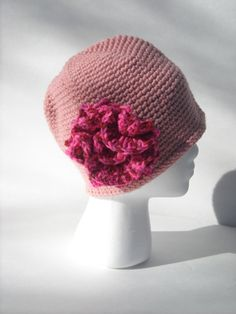 Hey, I found this really awesome Etsy listing at https://www.etsy.com/listing/257170208/pink-crocheted-cloche-hat-with-flower
