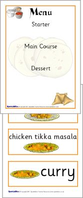 Indian restaurant role-play pack (SB1123) - SparkleBox