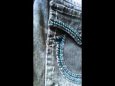 Custom Black & Blue True Religion Jeans with Swarovski Crystals Studded Jeans, True Religion Jeans, Swarovski Crystals, Blue