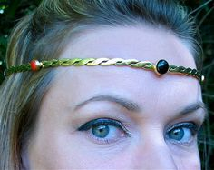 Red Coral and Onyx Stones on Braided Brass by SpiritoftheGoddess