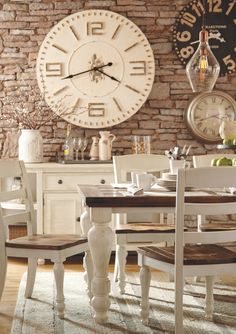 32 Popular Farmhouse Dining Room Design Ideas - Home Bestiest Farmhouse Dining Room Table, Dining Room Wall Decor, Dining Room Design, Dining Room Furniture, Dining Table, Room Decor, Dining Set, Dining Room Clock, Dining Rooms