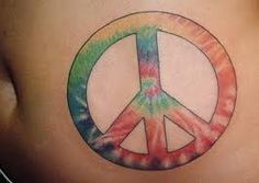 tie dye peace sign tattoo love love love