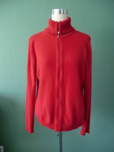 NEW VALERIE STEVENS 2PLY CASHMERE ZIP FRONT CARDIGAN IN RED LARGE