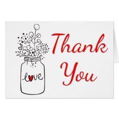 Rustic Red Thank You Mason Jar Floral  Wedding Card - red gifts color style cyo diy personalize unique