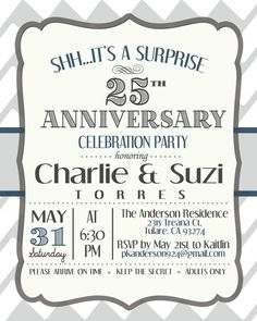 Anniversary Invitation Surprise 25th on Etsy, $16.39 CAD