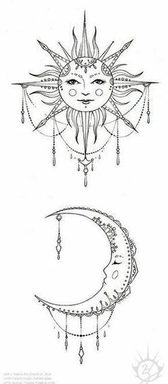 Matching sun and moon tattoo design ideas 14 #MoonTattooIdeas