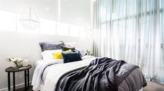 Bedroom ideas, love the sheer curtains