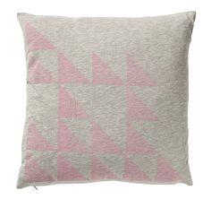 Coussin motifs géométriques gris/rose/jaune, Chez Balivernes Boutique