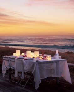 With the right candlelight, a few natural references, and a little human intervention, an outdoor table can compete with even the most majestic scenery.