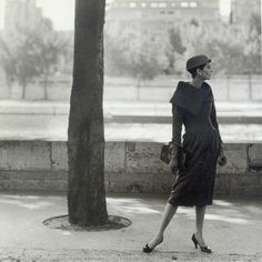 Anne St. Marie, wearing Cristóbal Balenciaga. Photographed by Henry Clarke. 1955.