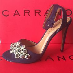 "NWB Stunning Carrano Navy Jeweled 4.5"" Heels  Stunning Emerald Blue Suede 4.5 heal with Ankle Strap, Amazingly Gorgeous Jewels Euro size 39 but this seem to runs smaller 7.5-8 ❤️ Carrano Shoes Heels"
