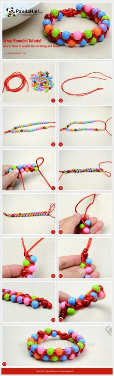 Wrap Bracelet Tutorial – How to Make Bracelets Out of String and Beads #DIY