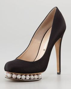 Nicholas Kirkwood Crystal-Platform Satin Pump, Black on shopstyle.com