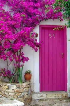 400 PX: Bougainvilleas at The Door in Alonissos, Greece