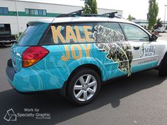 We wrapped this car for Freshly Wild to promote Kale Joy. How can they still see out of the windows? A perforated material still allows for visibility.