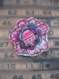 fabric brooch machine and hand stitched by maxollieandme on Etsy, £9.00