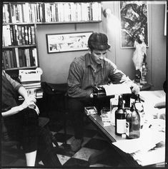 American author and poet Jack Kerouac types a poem at the apartment of photographer McDarrah and his soontobe wife Gloria New York New York December. Jack Kerouac, Writers Desk, Writers Write, Beat Generation, Allen Ginsberg, Free Novels, Work Pictures, Pin Up, Writers And Poets