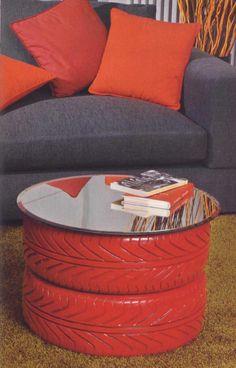 riciclo vecchi pneumatici per fare dei tavolini