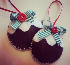 Handmade felt Christmas pudding, Christmas Tree decoration / ornament