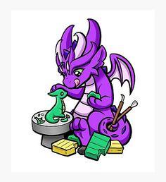 """Knitting Dragon"" Photographic Print by bgolins Stitch Drawing, Clay Set, Cool Dragons, Create Image, Dragon Art, Kawaii Drawings, Vinyl Decals, Print Design, Clip Art"