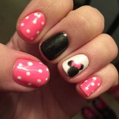 My Minnie Mouse Nails!  L.A. Nails Milford, Ma