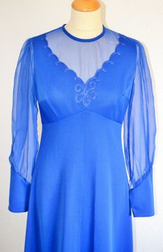 60s Vintage Blue Maxi Dress UK Size 12 by VeryVintageClothing, £30.00