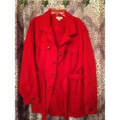 Red Coat Red suede coat. Perfect for fall days. Slightly worn but was taken good care of. Made of 100% polyester. Size 18/20W Open for offers  Cato Jackets & Coats Trench Coats
