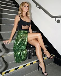 Great Legs, Nice Legs, Beautiful Legs, Gorgeous Women, Sparkly Skirt, Sequin Skirt, Amanda Holden, Sexy Legs And Heels, Sexy Outfits