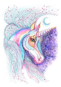 Space Unicorn horse high quality art print size by TevaKiwi Real Unicorn, Unicorn Horse, Unicorn Art, Rainbow Unicorn, Funny Unicorn, Unicorn Crafts, Unicornios Wallpaper, Rainbow Wallpaper, Unicorn Pictures