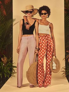 Image 1 of DIAMOND KNIT BRALETTE / LONG FLOWING POLKA DOT TROUSERS / KNITTED TOP / HIGH HEEL STRAPPY SANDALS / LARGE ROUND RAFFIA TOTE BAG / ROUND RAFFIA BASKET BAG from Zara