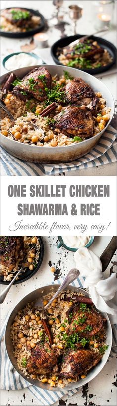 One Skillet Baked Chicken Shawarma and Rice - two Middle Eastern favorites made in one skillet! Chicken Shawarma with punchy flavours and a delicately fragrant rice pilaf with chickpeas.: