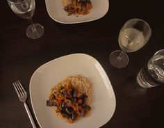 HiveQueen: Scarlet runner beans with tomatoes and polenta