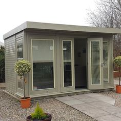 A fantastic garden room made from Western Red Cedar with glass-to-ground double glazing. Available with a choice of 4 roof styles and a wide range of sizes. Energy saving glass and fully insulated for all-year round use!