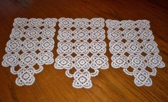 3 Piece Vintage Hand Crocheted Lace Arm Chair Doily Set 8 x 14 & 8.5 x 15 White