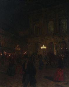 Aleksander Gierymski - Opera paryska w nocy (Paris Opera by Night) [1891]