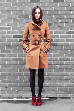 Camel coat with ruby red boots