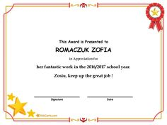 - her fantastic work in the 2016/2017 school year.