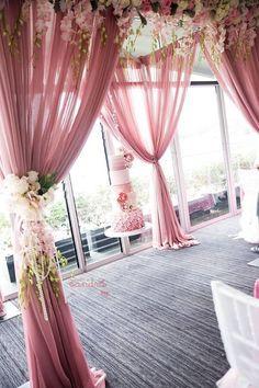 Dusty rose wedding arch / http://www.deerpearlflowers.com/28-dusty-rose-wedding-color-ideas/