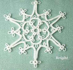 Tatted Lace Christmas Ornament Snowflake Bright by SnappyTatter, $12.50