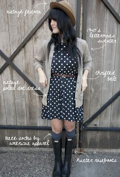 Great outfit -- I have a similar dress and cardigan to recreate, but no hunter wellies :( Cute Fashion, Womens Fashion, Fashion Styles, Fashion Ideas, Dress With Cardigan, Lady Grey, Festival Fashion, What I Wore, New Outfits