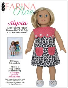Pixie Faire Farina Rae Alyvia Dress Doll Clothes Pattern for