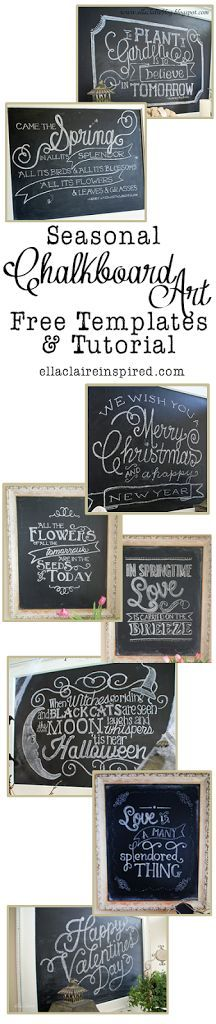 My Seasonal Chalkboard Art Roundup - Free Templates and Tutorial by Ella Claire.