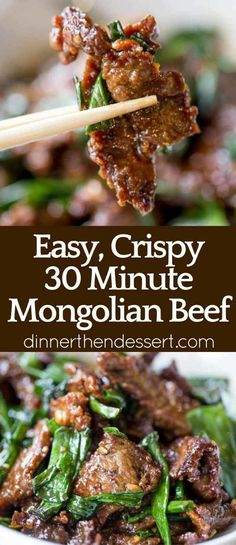 Mongolian Beef that's easy to make in just 30 minutes, crispy, sweet and full of garlic and ginger flavors you love from your favorite Chinese restaurant. Meat Recipes, Asian Recipes, Dinner Recipes, Cooking Recipes, Healthy Recipes, Cooking Games, Asian Foods, Restaurant Recipes, Chinese Recipes