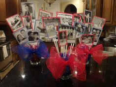 Ideas to Honor Deceased High School Reunion Decorations Class School Reunion Decorations, Reunion Centerpieces, 50th Birthday Centerpieces, Centerpiece Ideas, Graduation Centerpiece, Candle Centerpieces, Wedding Centerpieces, High School Class Reunion, 10 Year Reunion