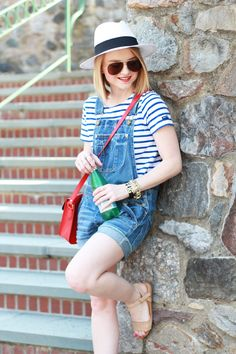 Poor Little It Girl - American Eagle Denim Overalls, D&Y Panama Hat, J.Crew Striped T-shirt, Gap Tan Sandals