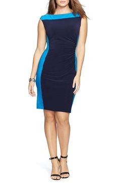 Lauren Ralph Lauren Two-Tone Matte Jersey Dress (Plus Size)