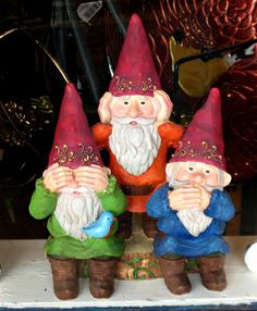 three gnomes in an art store in WImberly, Tx. Cuties!